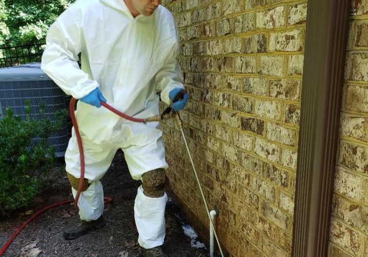 Technician treating home exterior with pesticide
